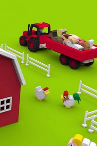 Трактор на ферме, домашние животные