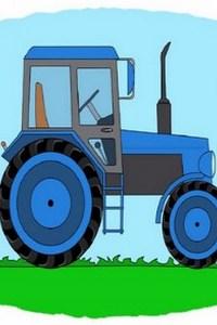 Тракторы – мультик-раскраска